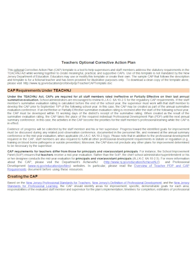 teachers corrective action plan