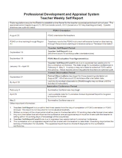 teachers weekly appraisal self report