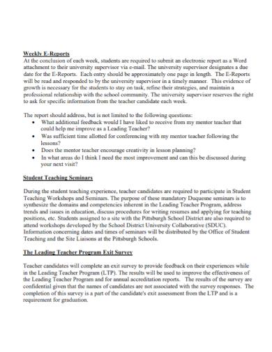 teachers weekly e report