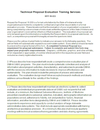 technical evaluation training services proposal