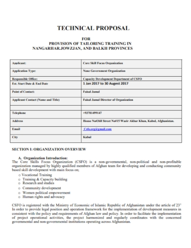 technical tailor training proposal