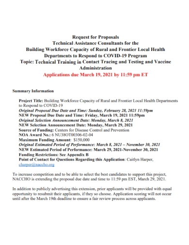 technical training consultant request for proposal