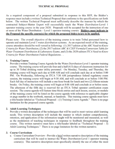 technical training course proposal