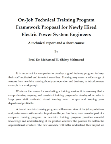 technical training program framework proposal