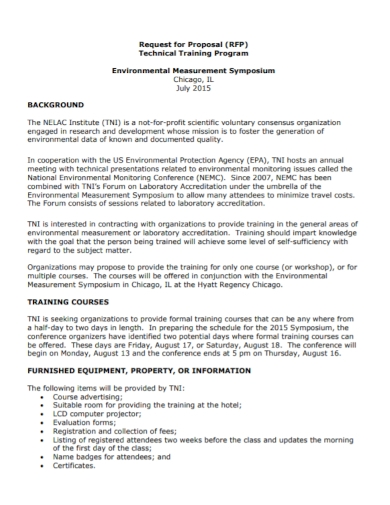 technical training program request for proposal