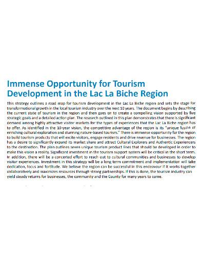 tourism product development plan