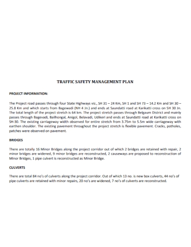 traffic project safety management plan