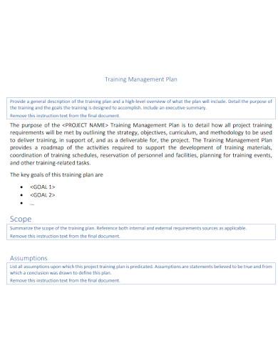 training management plan sample