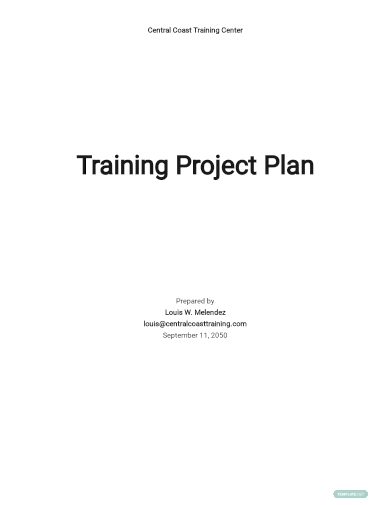 training project plan template