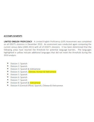 transportation department annual accomplishment report