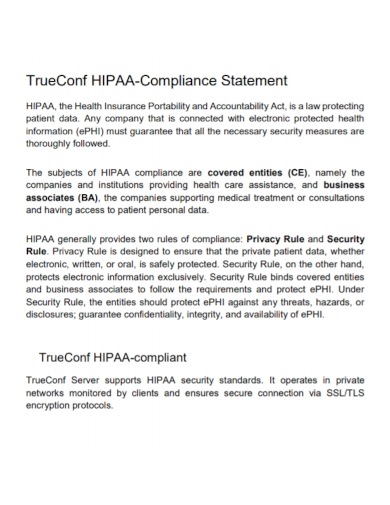true conference hipaa compliance statement