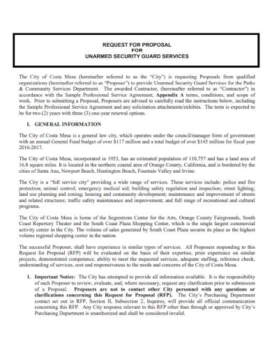 unarmed security guard proposal