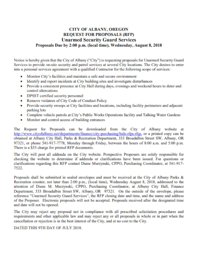 unarmed security guard services proposal