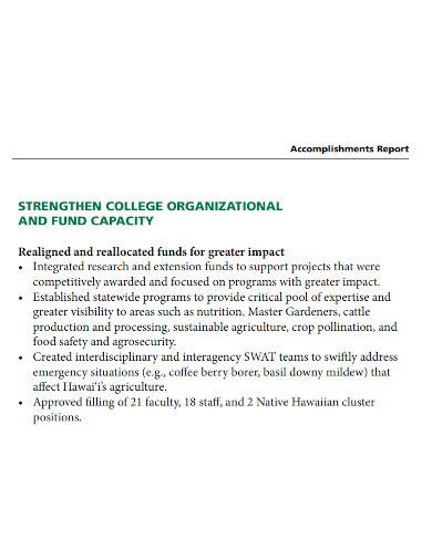 university research accomplishment report