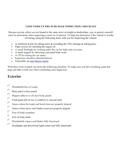 used vehicle pre purchase inspection checklist