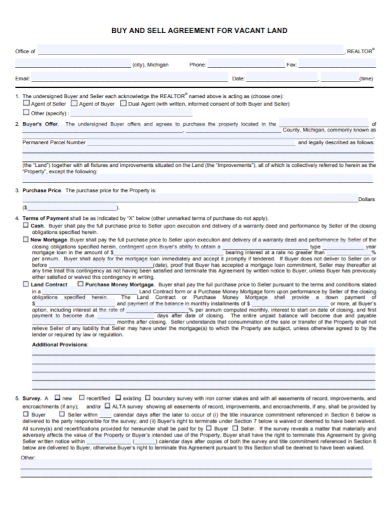 vacant land buy and sell sale agreement