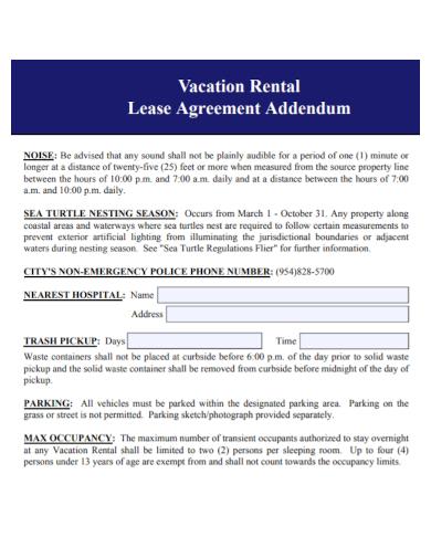 vacation rental lease agreement addendum