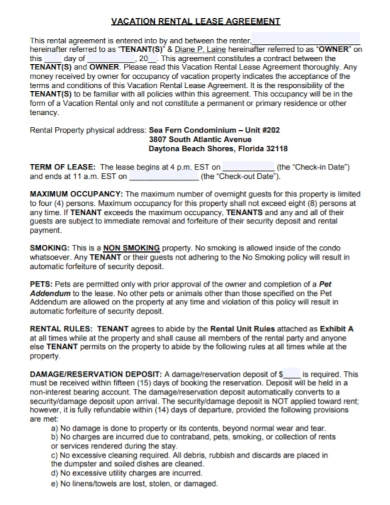 vacation rental lease agreement