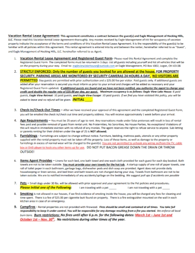 vacation rental lease registered agreement