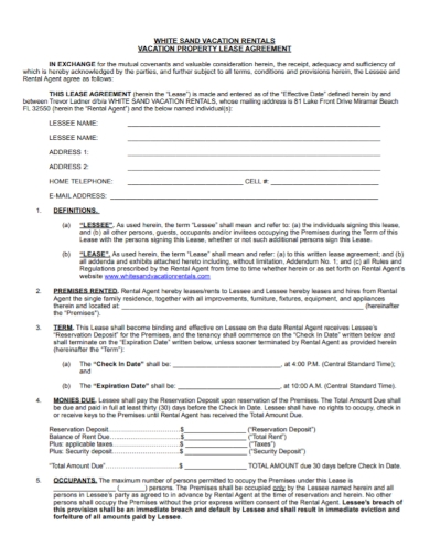vacation rental property lease agreement