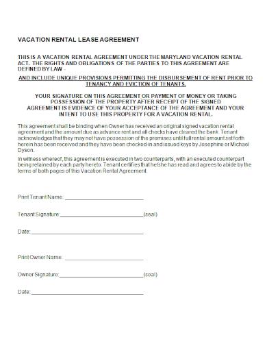 vacation rental tenancy lease agreement