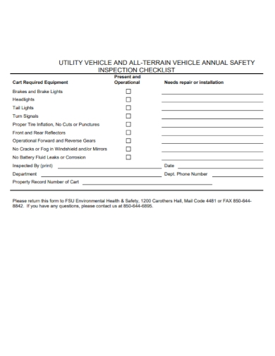 vehicle annual safety inspection checklist
