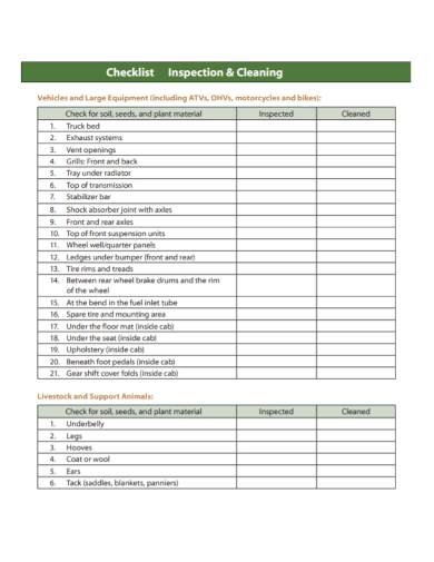 vehicle equipment cleaning inspection checklist