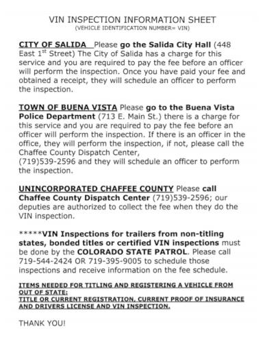 vehicle inspection verification information sheet