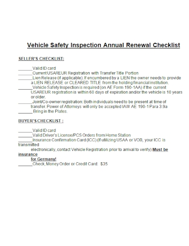 vehicle safety annual renewal inspection checklist