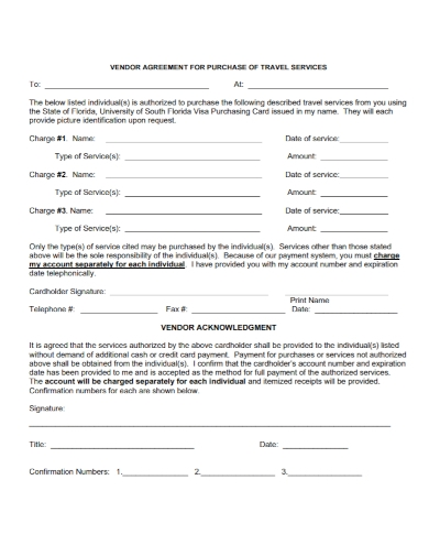 vendor agreement for purchasing travel services