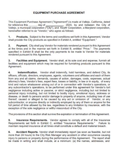 vendor equipment purchase agreement
