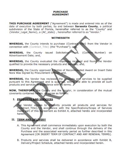 vendor legal purchase agreement