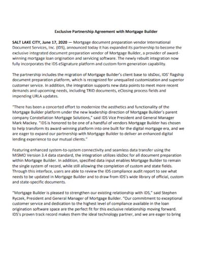 vendor mortgage partnership agreement