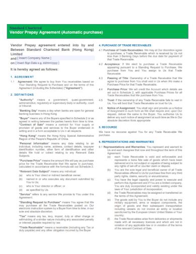 vendor prepay purchase agreement