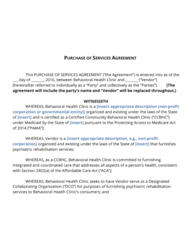 vendor purchase services agreement