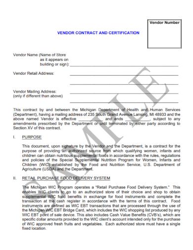 vendor retail store contract