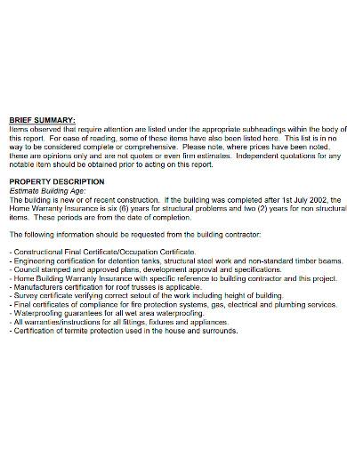 visual building handover inspection report