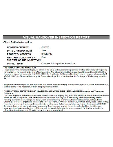 visual handover inspection report