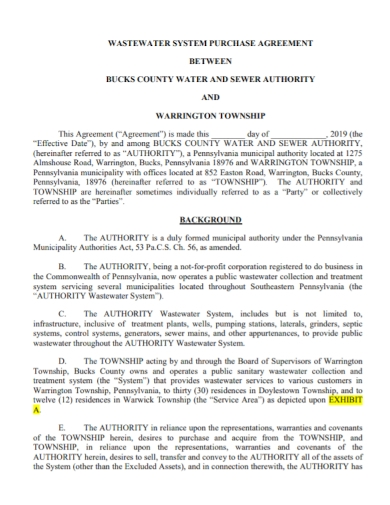 waste water system purchase agreement