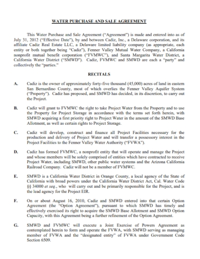 water purchase and sale agreement