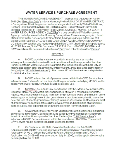 water services purchase agreement