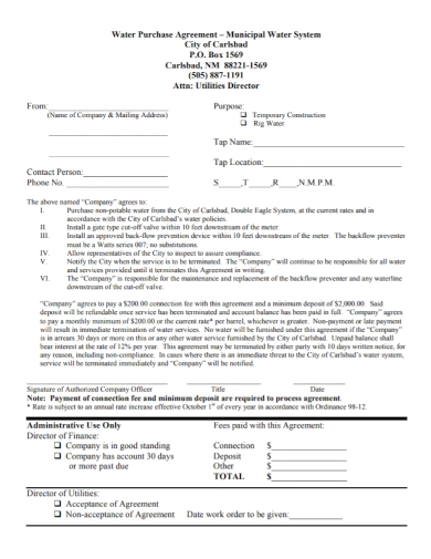 water system purchase agreement