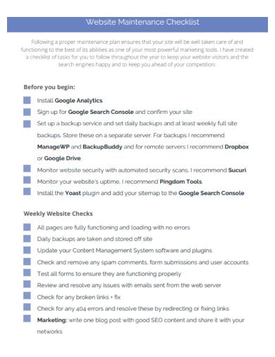 website server maintenance checklist