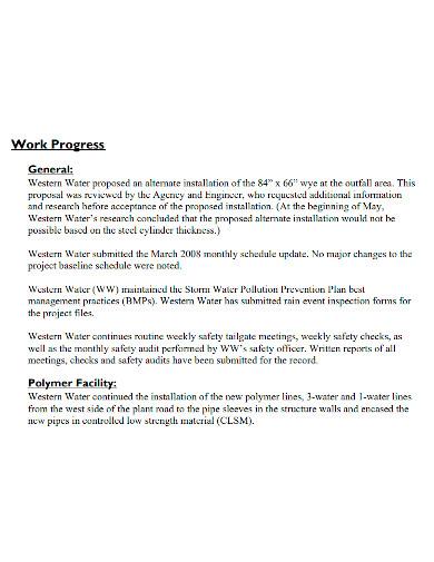 weekly construction work progress report