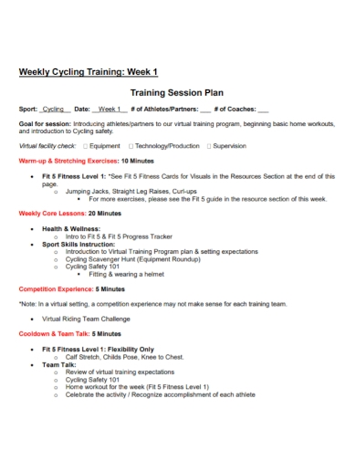 weekly cycling training session plan