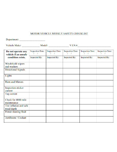 weekly motor vehicle inspection checklist