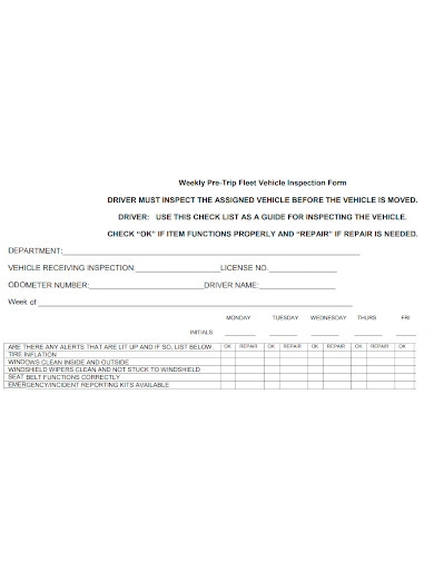 weekly pre trip fleet vehicle inspection form