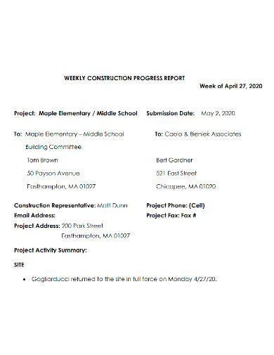 weekly school construction progress report