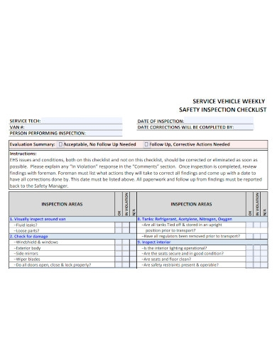 weekly service vehicle inspection checklist