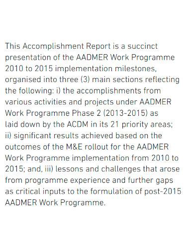 work accomplishment report sample